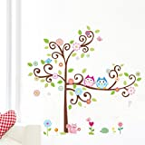 1 X Colorful Flower And Owls On The Tree Cartoon Wall Decor Sticker, Removable Decals For Kids Room Decoration, For Living Room by soferrior