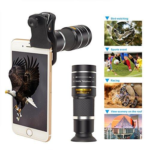 XIAYU Lente de la cámara óptica, 20x HD telescopio telephoto monocular Enfoque Ajustable para iPhone X 7 8 y Otros...