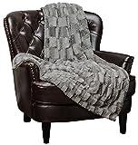 Chanasya Super Soft Fuzzy Faux Fur Elegant Rectangular Embossed Throw Blanket | Fluffy Plush Sherpa Cozy Microfiber Grey Blanket for Bed Couch Living Room Fall Winter Spring (50' x 65') - Grey