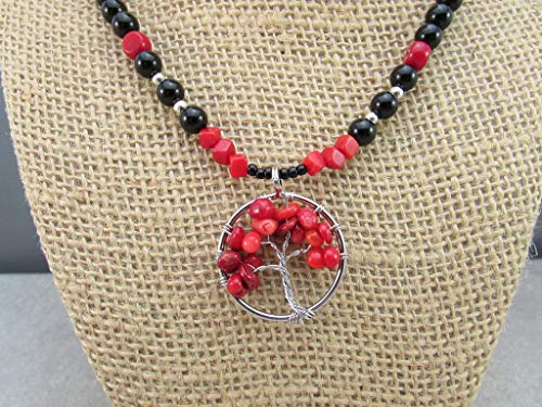 - Red Coral Tree of Life Pendant, Coral Button Bead and Black Onyx Gemstone Necklace, Circulate Energy