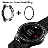 [2 Pack] JZK Samsung Galaxy Watch 42mm Bezel Ring Styling,Adhesive Cover Anti Scratch & Collision Protector Bezel Loop+Protector Case for Galaxy Watch 42mm Smartwatch Accessories