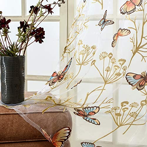 Hankyky Butterfly Curtains Screens Panel Window Valance Home Kitchen Balcony Room Divider Modern Home Decor