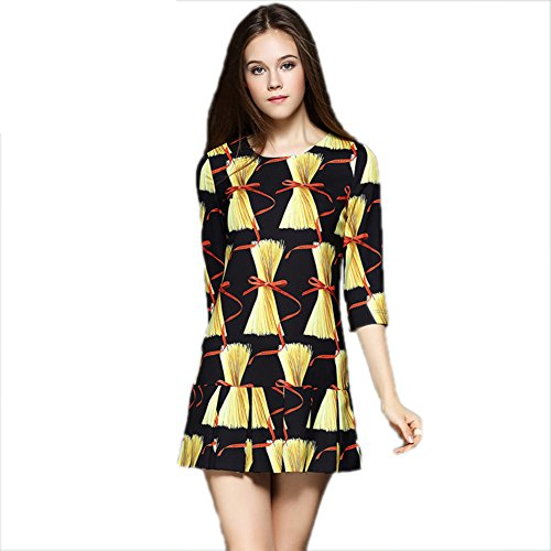 Short Scoop cotyledon Dress Fit Slim Dresses Women`s Sleeve 3 Neck 4 Printed xqwvqarX