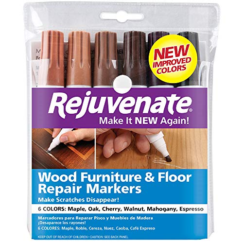 Floor Laminate Mahogany (Rejuvenate Wood Furniture & Floor Repair Markers Make Scratches Disappear in Any Color Wood -Combination of 6 Colors; Maple, Oak, Cherry, Walnut, Mahogany, Espresso)