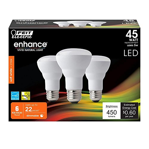 Price comparison product image (6-Pack) Feit LED Dimmable R20 Soft White High Performance Light Bulb,  450-Lumen,  2700K,  45-Watt Equivalent,  E26 Base,  CRI 90+ (Soft White)