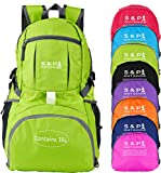 Outdoor 35L Sport waterproof Lightweight Packable backpack Durable folding Travel Hiking Trekking Camping Cycling Foldable backpack Ultralight Daypack collapsible Backpack (Lime Green) Review