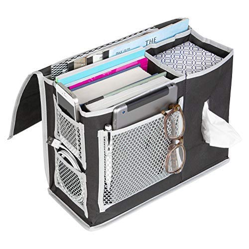 Bedside Organizer for Storage - 6 Pocket Bedside Caddy Storage – for Dorm Rooms, Home, and Hospitals - Organizers for Books, Phones, Tablets, Accessories, TV Remote and More