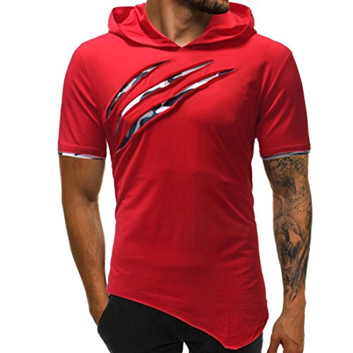 vermers Hot Sale Men's Hoodie T Shirts Fashion Personality Pure Color Sport Short Sleeve Tee Tops(XL, Red)