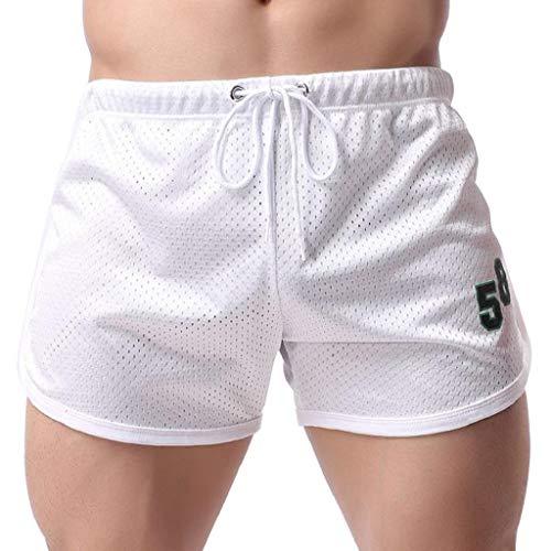 terbklf Summer Mens Shorts Fitness Bodybuilding Fashion Casual Short Pants Mesh Shorts Drawstring Jogging Shorts for Men White