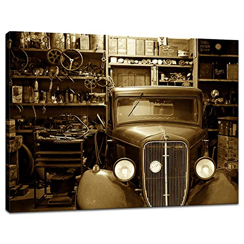 - Innopics Vintage Car Rustic Workshop Canvas Giclee Print Black and White Auto Repair Shop Picture Painting Modern Garage Retro Wall Art Decor Framed for Home Office Living Room Decoration 32