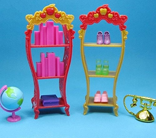 BUNITA,2pcs/lot Doll Furniture Kids Playhouse Shoes Rack For Barbie Dollhouse Storage Racks For Monster High (Ann Arbor Halloween City)