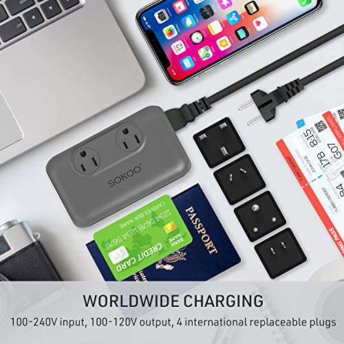 Sokoo Power Converter 220V to 110V, International Voltage Converter for Hair Straightener/Curling Iron, Step Down Universal Travel Adapter Europe UK/AU/US/in, 2Outlet, 4Port USB Charger QC3.0 Grey by SOKOO (Image #2)