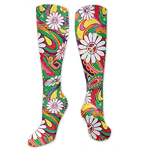 Colorful Flowers Peace Sign Compression Socks for Men & Women High Socks Below Knee High