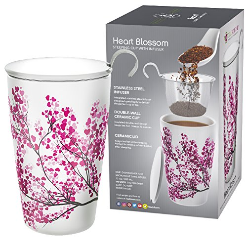 Blossom Ceramic (Teabloom BLOOMI Double Wall Insulated Ceramic Brewing Cup with Infuser Basket and Lid for Steeping – Loose Leaf Tea Maker – Intelligent & Beautiful Infuser Mug Design – Heart Blossoms)