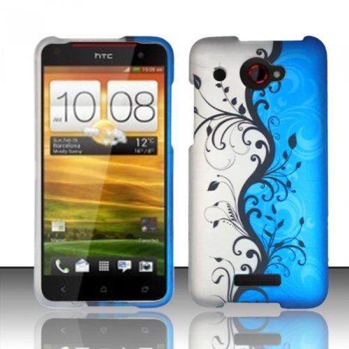 Bundle Accessory for Verizon HTC Droid DNA 6435 - Blue Vine Designer Hard Case Protector Cover + Lf Stylus Pen + Lf Screen Wiper