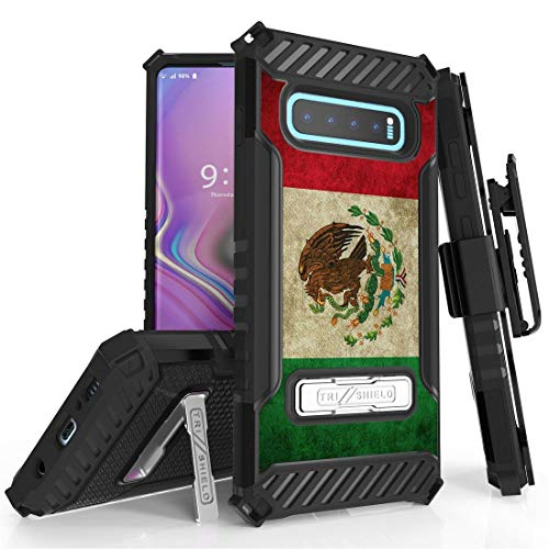 Mexico Clip - BC Tri Shield Compatible with Samsung Galaxy S10+ Plus Case Military Grade MIL-STD 810G-516.6 Cover with Belt Clip Holster - Vintage Mexico Flag