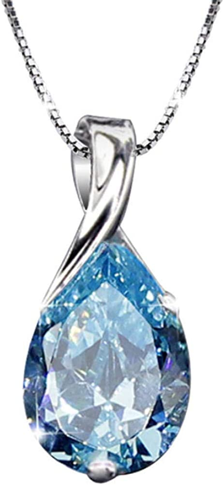 zbzmm Collarcollares Pendientes De Diamantes De Piedras Preciosas De Aguamarina para Mujeres Gota Azul Cristal Blanco Oro Plata Color Gargantilla Joyería Regalos Bijoux