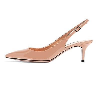 72a7a3218a1e Soireelady Escarpins à Petits Talons - Bride Arrière Chaussures - Escarpins  Bout fermé Femme Beige EU35