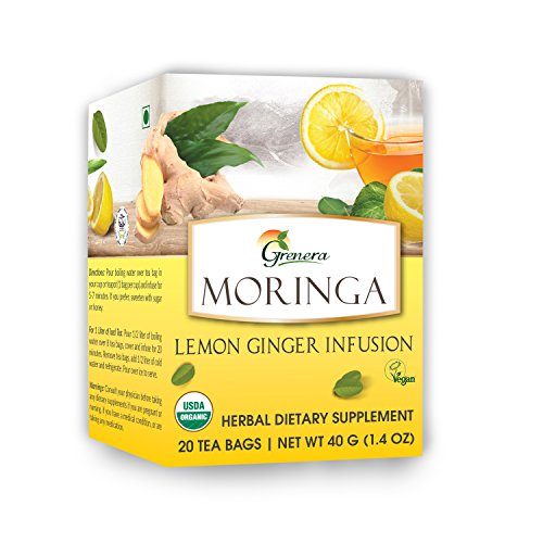 Grenera Moringa Lemon Ginger Infusion/Tea - 20 Tea Bags / Box- USDA Organic Certified, Made with Organic Ingredients - Ginger Infusion