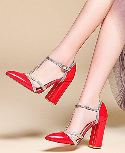 Aisun Women's Fashion Pointy Toe High Chunky Heels Sandals Red ZRdQMqfj