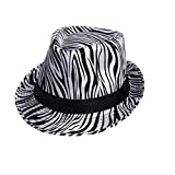 Zebra Prints Fedora Trilby Hats For Women - Black & White Colors (AFedHat52W)