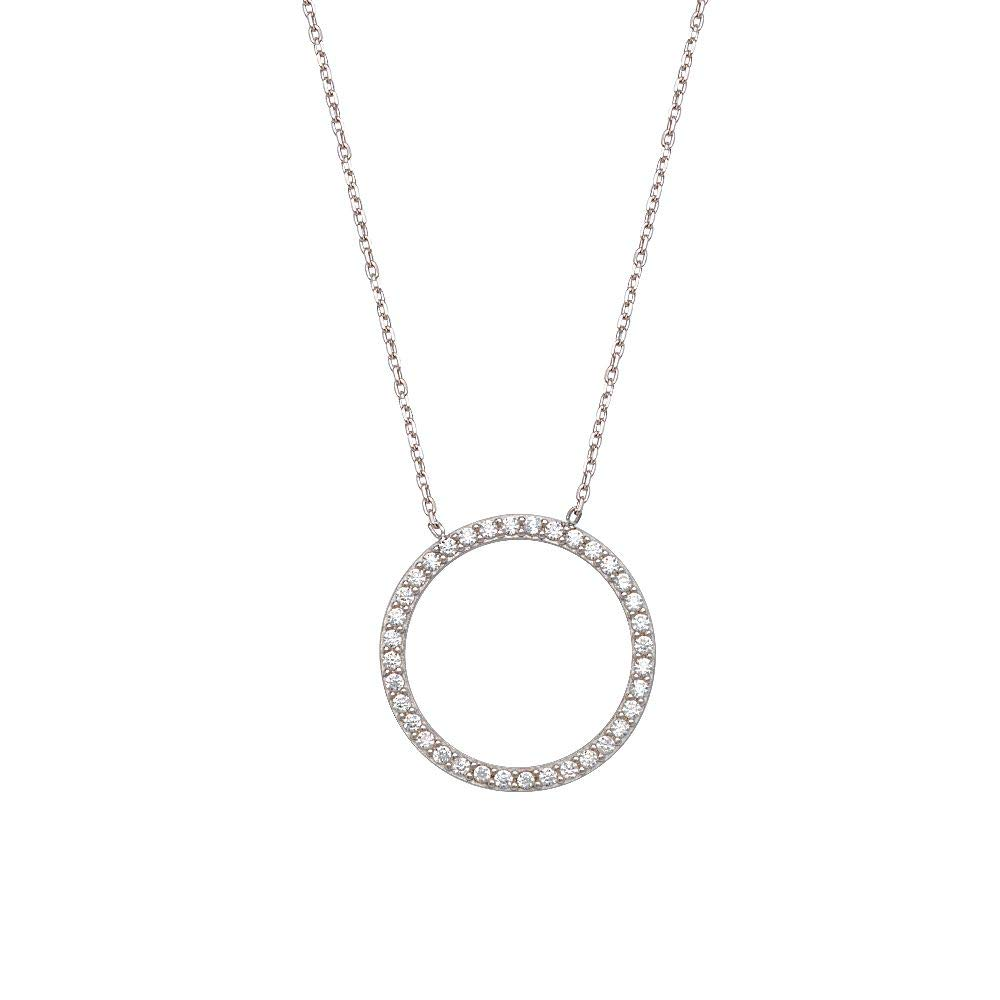 Sterling Silver Small Open CZ Circle Necklace Adjustable