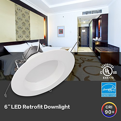 6'' Inch LED Can And Trim Combo -12W New Construction Insulation Contact IC Rated Downlight - UL and Energy Star Rated (5000 Kevin, 2 Each) by Bybon (Image #6)