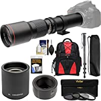 Vivitar 500mm f/8.0 Telephoto Lens with 2x Teleconverter (=1000mm) + Monopod + Backpack + Filters Kit for Samsung Galaxy NX, NX1, NX30, NX500 Camera
