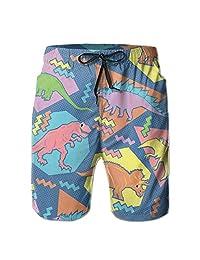 90s Funny Dinosaurs Men's Summer Casual Swimming Shorts Beach Board Shorts