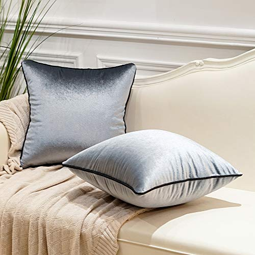Avigers Pack of 2 Luxury Warp-Knitted Velvet Solid Soft Decorative Square Throw Pillow Covers Set Cushion Case for Sofa Bedroom Car 18 x 18 Inches 45cm x 45cm, Silver Grey Blue (Cushions Silver Grey)