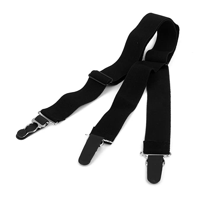 Generic Men Elastic Nylon Y-Style Adjustable Shirt Stays Sock Garters  (Black, 15014202MG)