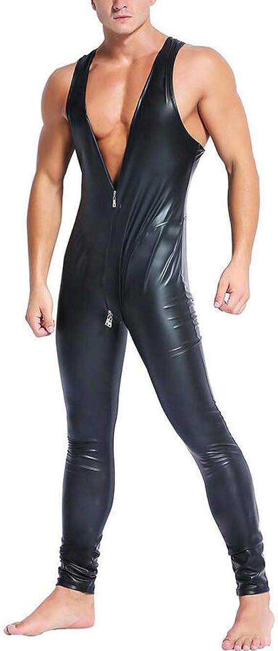 Plus Size Men/'s Faux Latex Shiny Zentai Catsuit Fancy Costume Spandex PlaySuit
