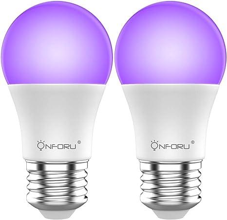 Onforu 2× LED Bombillas UV, 7W Bombilla de Luz Negra ILuminación Ultravioleta, 100-240V E27 Bombilla Lámpara de Luz Violeta Nivel UV-A Bajo Consumo ...