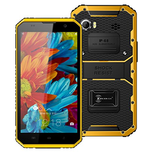 Hotsale! W9 Unlocked Cellphone 6inch 4G Phablet Octa Core Smartphone Android 5.1 2GB RAM 16GB ROM IP68 (Yellow)