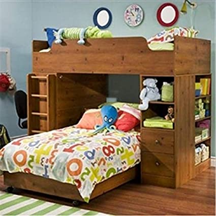 Amazon Com Sunny Pine Twin Over Twin L Shaped Bunk Bed With Storage