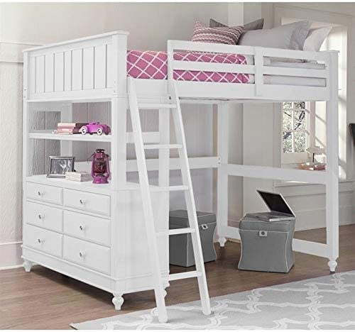 Rosebery Kids Full Wood Loft Bunk Bed with Dresser in White