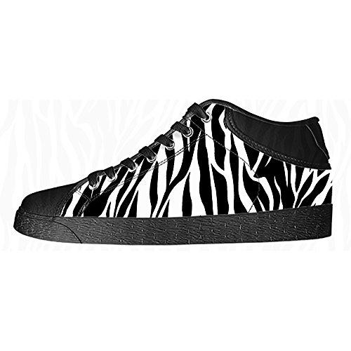 Impression De Zèbre Personnalisé Mens Toile Chaussures Lacets De Chaussure Haute Sur Des Espadrilles De Chaussures De Toile.