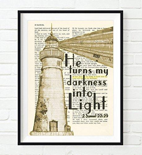 Vintage Bible verse scripture - He turns my darkness into Light - 2 Samuel 22:29 Lighthouse Christian ART PRINT, UNFRAMED, dictionary wall & home decor poster gift