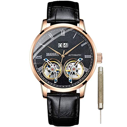 - Mens Mechanical Watches Leather Band Automatic Double Tourbillon Watch for Men Waterproof Business Classic Wristwatches Self Wind Clock Black Dial (Gold Black 8821)