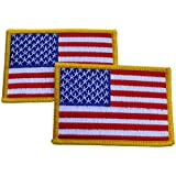"""2 Pack USA American Flag Embroidered Patch - 3.5"""" x 2.5"""""""