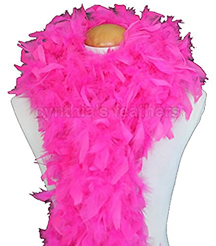 Cynthia's Feathers 80g Turkey Chandelle Feather Boas over 30 Color & Patterns (Hot Pink) Flapper Boa