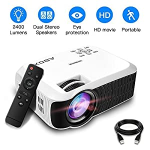 2018 Newest ABOX T22 Upgraded 2400 Lumens Portable LCD Video Projector, GooBang Doo Multimedia Home Theater Video Projector Support 1080p HDMI USB SD Card VGA AV for Home Cinema TV - White