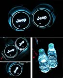 Automotive : Bearfire Car Logo LED Cup Pad led cup coaster USB Charging Mat Luminescent Cup Pad LED Mat Interior Atmosphere Lamp Decoration Light (Jeep)