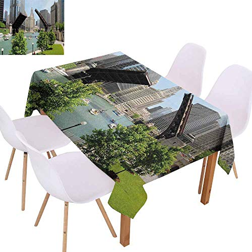 UHOO2018 United States,Picnic Tablecloth,Downtown Chicago Illinois Finance Business Center Lake Michigan Avenue Bridge,for Outdoor and Indoor Use,Multicolor,55