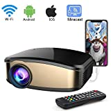 Wireless WiFi Video Projector, iBosi Cheng Portable Mini LCD Movie Video Projector Full HD 1080P LED Home Theater Projector with HDMI/USB/VGA/AV Input for iPhone Android Phone PC Laptop