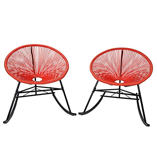 PatioPost Outdoor Acapulco Sun Weave Lounge Patio Rocking Chair, Red(Set of 2)