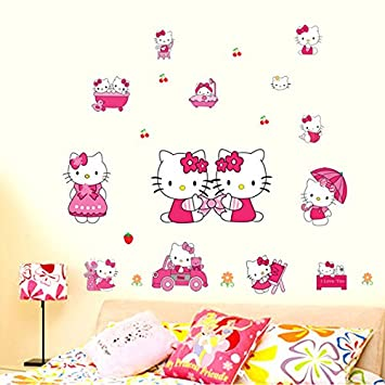 Childrens Room Wall Stickers Removable Hello Kitty Cute Cartoon Cat