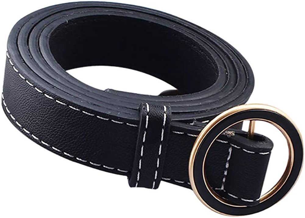 Poseca Women Belt Round Buckle Solid Color Adjustable Belts for Jeans Dresses
