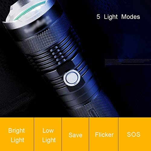 Tactical Flashlight, LED Handheld Flashlights, Work Light, Adjustable Focus Water Resistant, for Camping Hiking Home Power Outage, USB Rechargeable (Included Battery),A