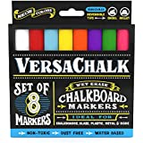 VersaChalk VC102-B Chalkboard Chalk Markers By (8-Pack)| Dust Free, Water-Based, Non-Toxic, Wet Erase Chalk Ink Pens, 5 mm, Multicolor